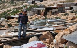 Israeli occupation forces demolish structures in the Bedouin Qabbon community