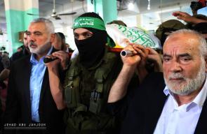 مراسم تشييع جثمان القيادي في كتائب القسام إبراهيم أبو النجا في محافظة رفح جنوب قطاع غزة