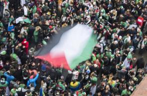 رفع علم فلسطين في مظاهرات الجزائر
