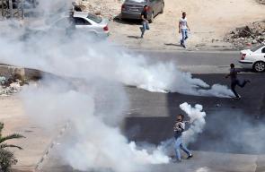 المواجهات التي اندلعت مع قوات الاحتلال في حي أم الشرايط جنوب مدينة البيرة