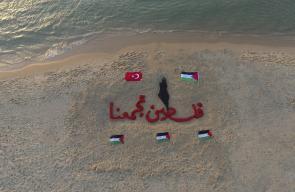 رسم على بحر شاطئ غزة بعنوان :