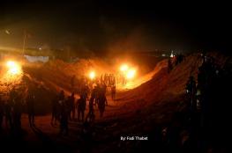 """شهيد وإصابات بفعاليات """"الإرباك الليلي"""" على حدود قطاع غزة"""