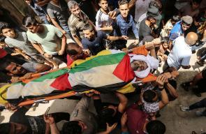 تشييع جثمان الشهيد معين عبدالحميد الساعي من مخيم الشاطئ
