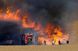 حريق بغلاف غزة بفعل بالونات حارقة