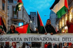 مظاهرة في ميلانو الإيطالية تضامنا مع قطاع غزة وضد جرائم الاحتلال
