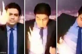 شاهد: مذيع تلفزيوني يحترق على الهواء مباشرة