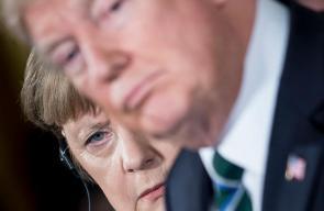 ملامح  الرئيس الأمريكي دونالد ترامب والمستشارة الألمانية أنجيلا ميركل خلال لقائهم الأول