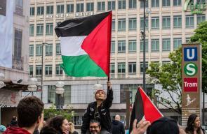 وقفة تضامن مع الأسرى الفلسطينيين المضربين في سجون الاحتلال بمدينة ميونيخ الألمانية .
