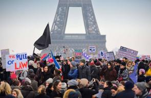 مسيرات في باريس رافضة للرئيس الأمريكي دونالد ترمب