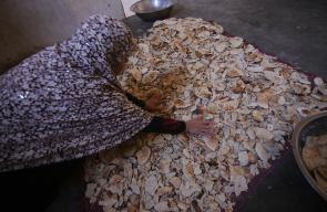 سيدة فلسطينية تجفف بقايا الخبز داخل منزلها لتبيعه لمالكي الماشية لإطعام حيواناتهم