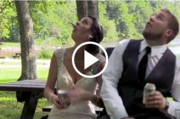 نجوا بأعجوبة.. سقوط شجرة على عروسين يوم زفافهما