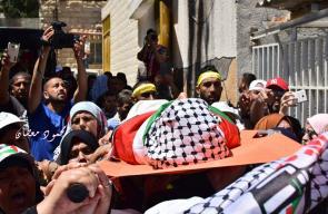 تشييع جثمان الشهيدة فاطمة حجيجي في رام الله
