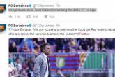 """تهنئة """"لافتة"""" من برشلونة لغريمه ريال مدريد"""