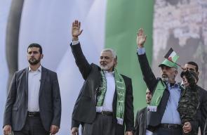 جانب من مشاركة رئيس حركة حماس إسماعيل هنية في مهرجان انطلاقة حماس ال30
