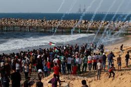 اصابات جراء اعتداء الاحتلال على المسير البحري الثالث عشر شمال غزة