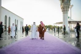 بساط بنفسجي في استقبال بن زايد بالسعودية يثير تفاعلاً