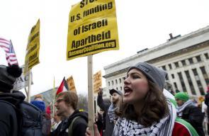 تظاهرة في واشنطن مع بدء مؤتمر لجنة الشؤون العامة الأميركية الإسرائيلية (أيباك)