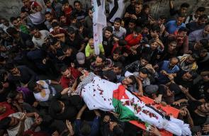 تشيع حاشد للشهيد محمد أبو عبادة غرب غزة