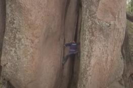 """بشكل مذهل... """"ملك التل"""" السبعيني يتسلق المنحدرات العالية من دون أدوات الأمان"""