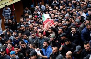 تشييع جثمان الشهيد محمد علي دار عدوان بمخيم قلنديا