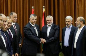 رئيس المكتب السياسي لحركة حماس اسماعيل هنية يجتمع مع رئيس المخابرات المصرية خالد فوزي