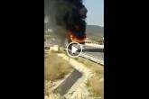 """""""شاهد احتراق حافلة فريق """"وفاق سطيف"""" الجزائري أثناء توجهها للمطار"""