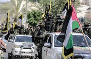 عرض عسكري لسرايا القدس بغزة تأبينا للأمين العام رمضان شلح