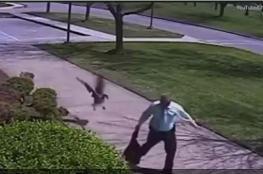 شاهد إوزة تهاجم شرطياً أمريكياً وتطرحه أرضا