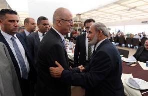 رئيس الوزراء رامي الحمد الله خلال افتتاحه برج الظافر (4) ولقائه قيادة حركة حماس في غزة