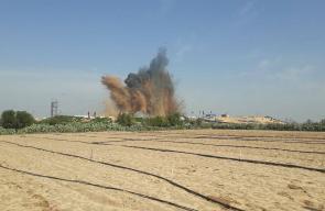 استهداف موقع حطين التابع للمقاومة شمال قطاع غزة .