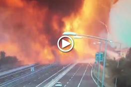 شاهد لحظة وقوع انفجارات ضخمة بحادث صهريج وقود!