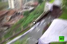 مشهد مرعب لانهيار شارع بالكامل تحت مجمع سكني في الصين