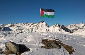 علم فلسطين على جبال تالكيتنا في جنوب ولاية ألاسكا بالولايات المتحدة