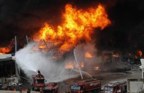 اندلاع حريق ضخم في بيروت