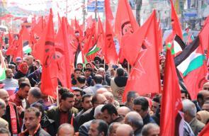 مسيرة وعرض عسكري بغزة في الذكرى الـ50 لانطلاقة الجبهة الديمقراطية