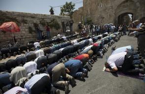 المقدسيون يواصلون أداء الصلاة والرباط على أبواب #المسجد_الأقصى