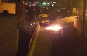 #شاهد   شبان يستهدفون مستوطنة (معليه زيتيم) في حي رأس العامود بالقدس المحتلة قبل قليل .