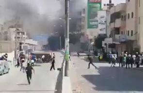 #فيديو مواجهات مع الاحتلال على حاجز قلنديا جنوب رام الله