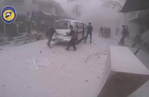 #شاهد إسعاف الجرحى بينهم أطفال جراء غارات جوية استهدفت المناطق السكنية في دوما بريف دمشق