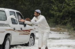 في حدث نادر.. تساقط الثلوج بمنطقة عسير جنوب السعودية