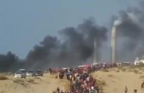#شاهد توافد الجماهير الفلسطينية نحو السلك الزائل شمال قطاع غزة لإسناد المسير البحري الثامن