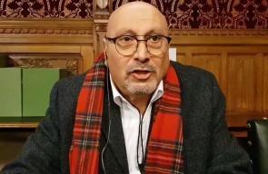 السفير الفلسطيني في بريطانيا د مانويل حساسين يتحدث في يوم الضغط السياسي في مجلس العموم البريطاني من اجل فلسطين.