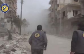 مشاهد عنيفة وثقتها عدسات الدفاع المدني السوري خلال القصف على مدينة #دوما في الغوطة الشرقية اليوم