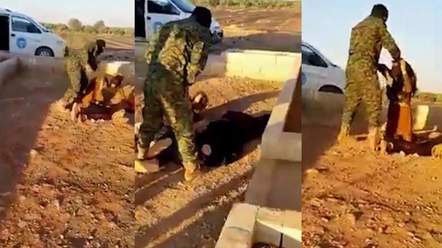 """نزع حجابها وتبول عليها.. """"شاهد"""" عنصر بالقوات الكردية يعتدي على امرأة سورية بمنبج"""