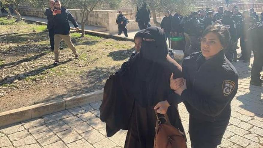 الاحتلال يعتقل 5 نساء من أمام مصلى باب الرحمة