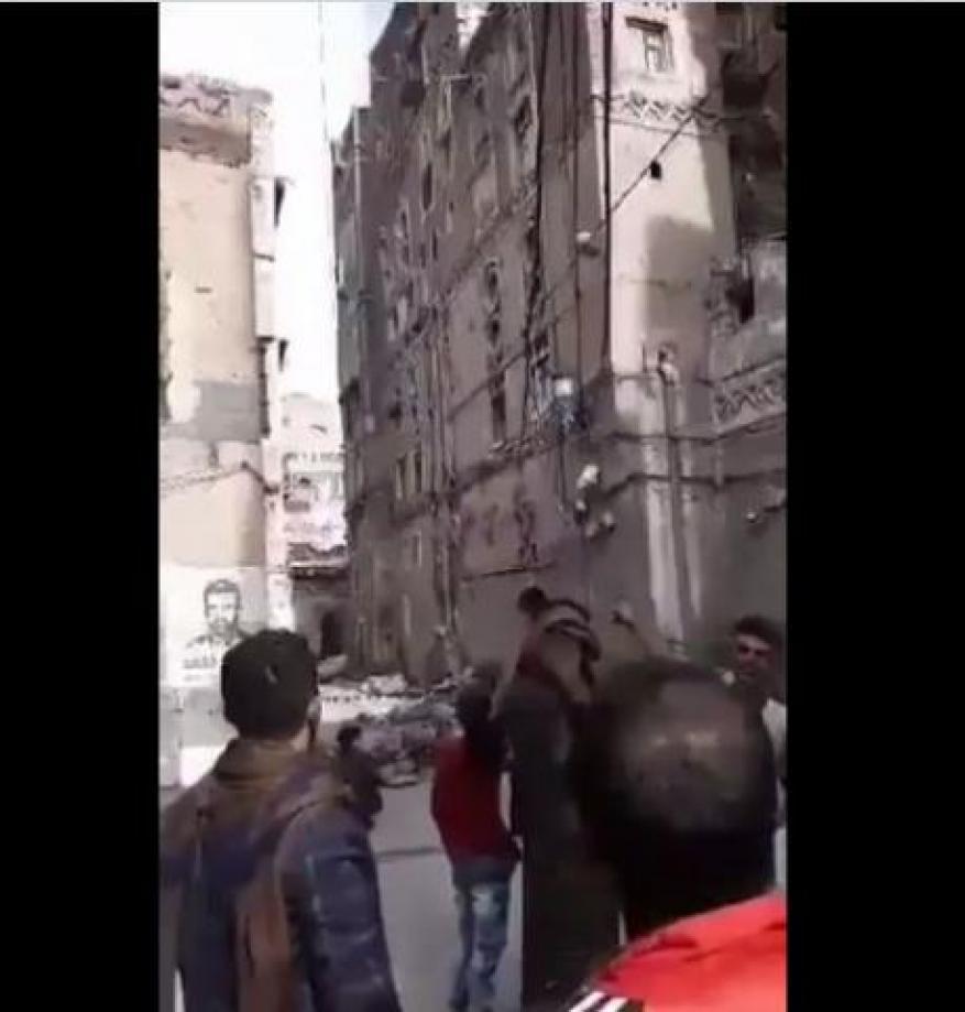 انهيار منازل في صنعاء القديمة جراء استمرار هطول الأمطار الغزيرة