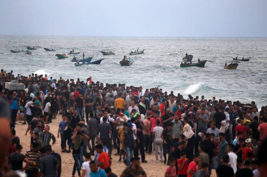 مشاركة جماهيرية حاشدة في الحراك البحري الـ23 شمال غزة