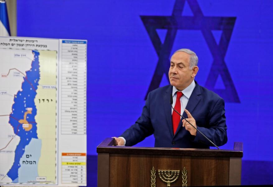 نتنياهو يعلن عن نيته فرض السيادة الاسرائيلية على منطقة غور الأردن وشمال البحر الميت