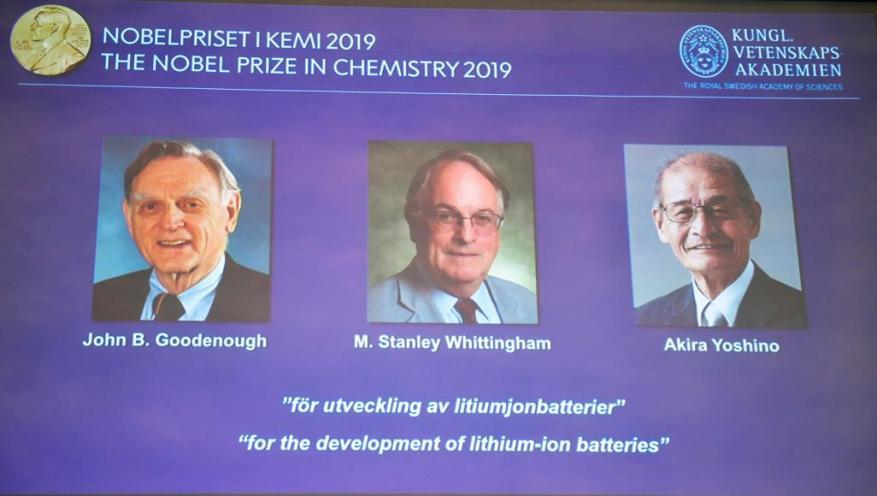 فوز أميركي وبريطاني وياباني بجائزة نوبل للكيمياء لتطويرهم بطاريات الليثيوم القابلة للشحن