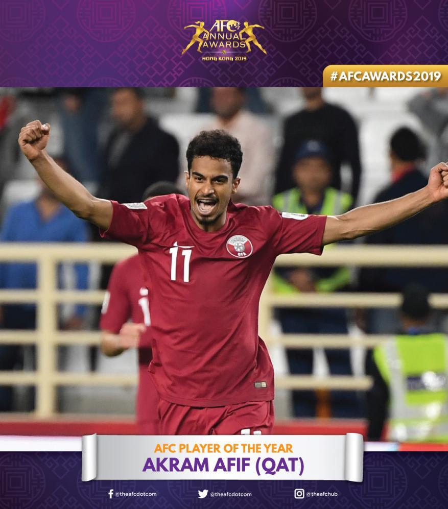 القطري أكرم عفيف أفضل لاعب في آسيا لعام 2019